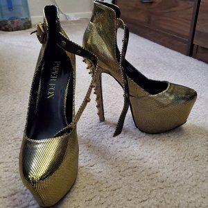 Paper Fox Gold Studded Zora Platform Heels